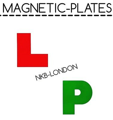 Magnetic Car Learner Plates L & P Set 4pc Driving Lesson Test Pass Driver Alert