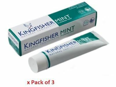 Kingfisher Mint Fluoride Free Toothpaste 100ml x Pack of 3