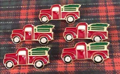 CUTEST Red Pick Up Truck Christmas Trees Button Metal Enameled