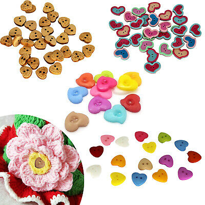 100pcs Buttons Plastic & Wood Multicolor with 2 Hole for Sewing Crafts Scrapbook