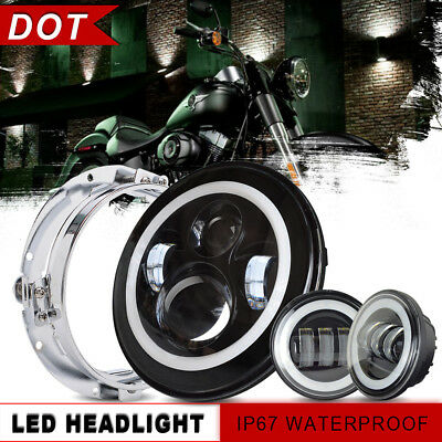 """For Harley Touring BLK 7"""" LED Projector Daymaker Headlight + BLK Passing Lights"""