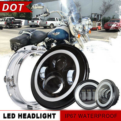 DOT 7Inch Round For Harley Daymaker LED Headlight Kit + 4.5Inch 60W Passing Lamp