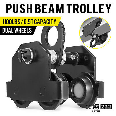 0.5 Ton Push Beam Track Roller Trolley Dual Wheels Washers Included Solid Steel