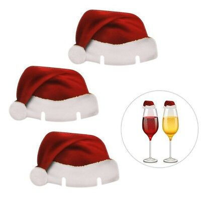 1/10 Pcs Handmade Christmas Red Wine Glass Cup Cards Santa Claus Hat Paper Cards
