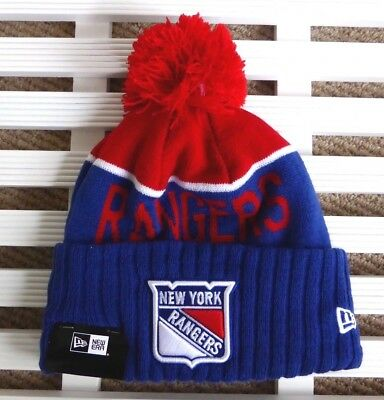 NEW YORK RANGERS New Era Bobble Beanie Toque Hat Ice Hockey Canada USA NHL