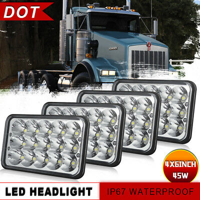 "DOT Car Led 4x6"" Led Cree Hi/Lo Beam Seal Headlight for Kenworth Peterbilt Truck"
