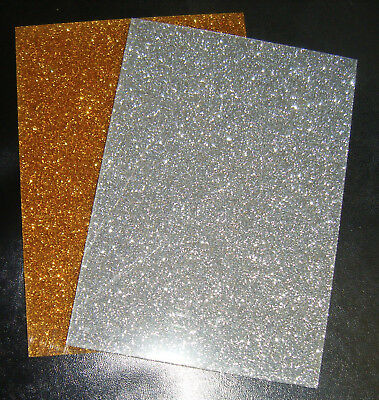 Gold or Silver Glitter Sparkle Acrylic Sheet in A5 / A4 3mm Thick Laser crafts