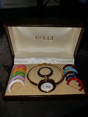 e9f68dd1709 AUTHENTIC GUCCI 1100L Gold Plated Bangle Watch 18k w Interchangeable Bezels