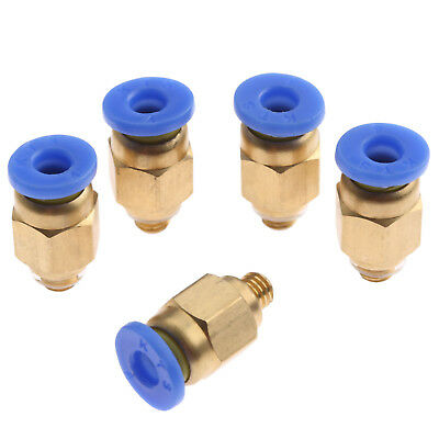 2x M5 to 4mm pipe Push fit male stud connectors Quick fittings Pack of 2 UK