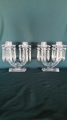 Pair of Vintage Art Deco Glass 2 Stick Candle Holders w/ Removable Icicle Prisms