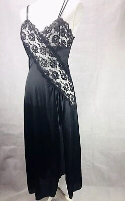 Vtg Frederick's Of Hollywood lingerie Nightgown Sexy Black Lace High Slit Size S
