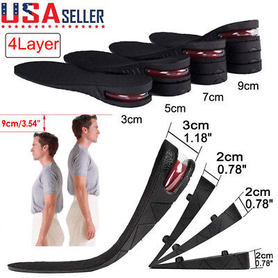 Unisex Increase Insole 4 Layers Height Heel Lift Shoe Air Cushion Pad Taller US