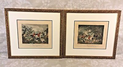 Pair of Hand Colored Fox Hunt Engravings in Gold Colored Frames Edward Bell 1801