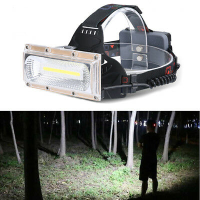 LED COB USB Rechargeable 18650 Headlamp Headlight Fishing Torch Flashlight  30W