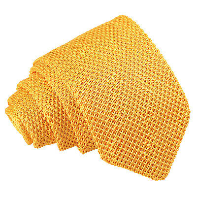 DQT Knit Knitted Plain Solid Marigold Yellow Casual Mens Slim Tie