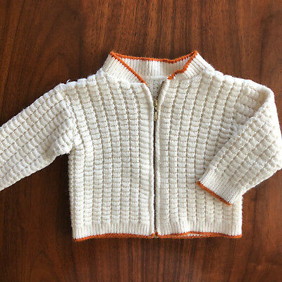 Vintage Baby Boys Hand Knit Waffle Weave Sweater Zip Up Cardigan 12 Months
