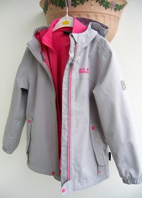new arrivals e5531 ccd5f JACK WOLFSKIN 3-IN-1 Jacke/Funktionsjacke,Gr.128,Grau/Pink,Fleece,Winter TOP