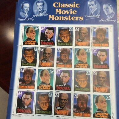 US Stamps Classic Movie Monsters - Mint Condition Scott #3168-72