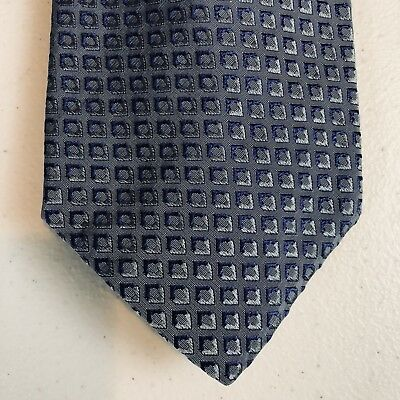 "Hugo Boss MENS MADE IN ITALY SILK DESIGNER NECK TIE Blue Geometric 57"" 3 1/2"""