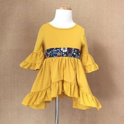 W-550 Boutique Yellow Ruffle Dress  (Ready to Ship From Ohio) Free Shipping