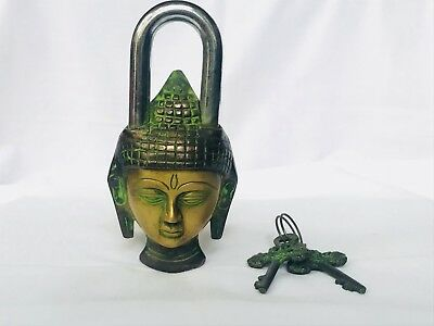 Vintage Style Buddha Lock Key Padlock Brass Mantra Old Keys Solid Antique Finish