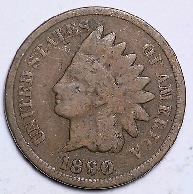 1890 Indian Head Cent Penny / Circulated Grade Good / Very Good 95% Copper Coin