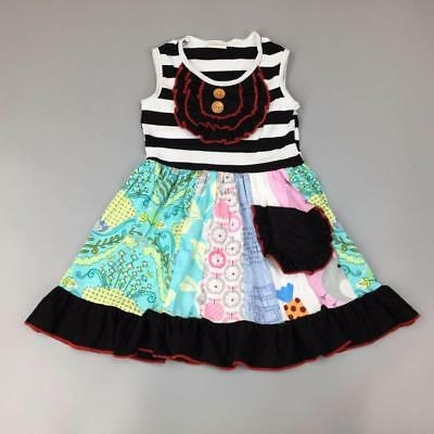 W-555 Boutique Black Pocket Colorful Dress(Ready to Ship From Ohio)Free Shipping