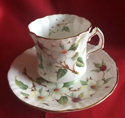 Textured Hammersley Tea Cup & Saucer Dogwood Blossom, Mint Condition