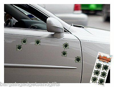 6 Fake Bullet Hole Car Stickers Funny Joke Boys Mens Prank Christmas Present