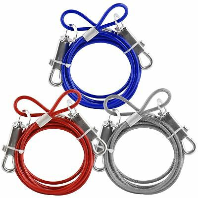 Red/Blue/Silver Dog Leash 6Ft Cable Tie Out Extension Lead Secure Wire Pet Puppy