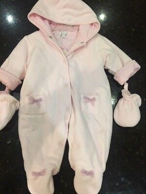 129ca4f6d ZIP ZAP Baby Girls PalePink Velour SNOWsuit attached mittens 0-3 Months  (317)