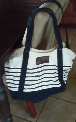 5a730950d526 Abercrombie   Fitch Denim Blue White Striped Large Bag Tote Beach Handbag  Strap