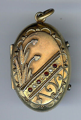 Antique Victorian Gold Tone Red Glass Or Ruby Pearl Double Sided Locket Pendant