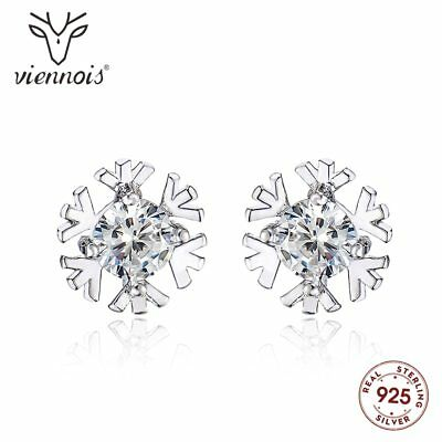 925 Silver Snowflake Classic Stud Earrings Trendy Xmas Gifts For Her Wife Women