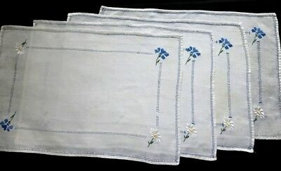 """Four Country Style Linen Placemats Wild Field Flowers Embroidery 16"""" x 10  3/4"""""""
