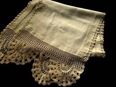"Antique Country Style Home Spoon Large Linen Towel Crochet Trim 64"" x 15 1/2"""