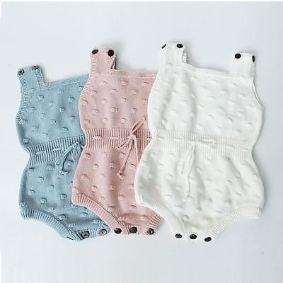 2017 Spring Baby Knitted Rompers Cute Newborn Baby Boy Girl Clothes Overalls Kid