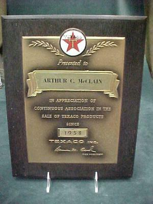 1958 VINTAGE TEXACO GAS OIL APPRECIATION AWARD ARTHUR C McCLAIN SALE OF PRODUCT