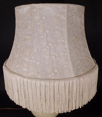 New Victorian Style Ivory Lace Fabric Lamp Shade With Glass Beads And Fringe