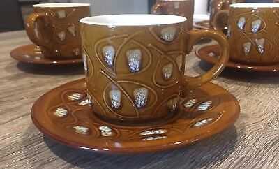 VINTAGE 1970's JAPANESE POTTERY TEA CUPS, COFFEE CUPS 6 Cup & Saucer Set AS NEW