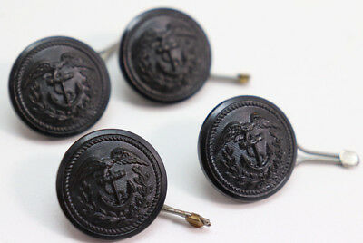 WWII US Coast Guard Black Resin Buttons 7/8 in 22mm 36L lot of 4 B500