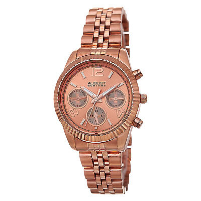 Women's August Steiner AS8103RG Swiss Day/Date Stainless Steel Rose-tone Watch