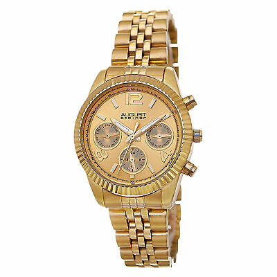 Women's August Steiner AS8103YG Swiss Day/Date Stainless Steel Gold-tone Watch