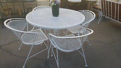 Vintage Wrought Iron Mesh Round Table and Four Chairs
