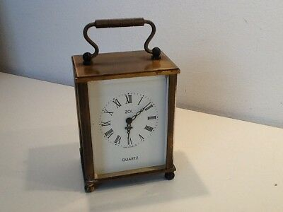 Vintage ZOL Brass Carriage Clock, Quartz Battery Operated