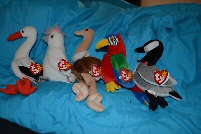 Lot of Ty Beanie Babies birds goose parrot stork ostrich stuffed animals plush
