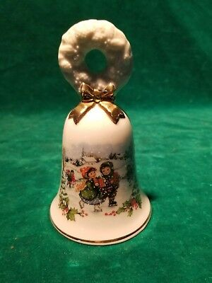 Avon Porcelain 1986 Christmas Bell Gold Trim Little Boy and Girl  Ice Skating
