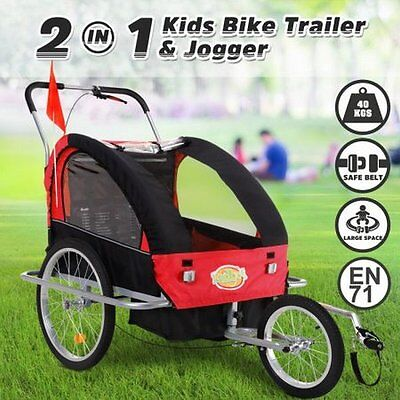 NEW 2 in 1 Convertible Kidbot Bicycle Trailer Pram Stroller Jogger - Black Red