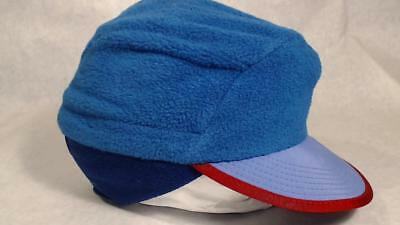 2b419ed82a727 Vtg Patagonia Duck Bill Hat Cap Fleece Ear Flap Large Turquoise Blue Red  Trim