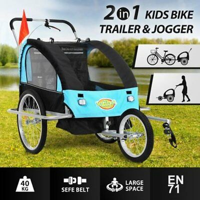 NEW 2 in 1 Convertible Kidbot Bicycle Bike Trailer Pram Stroller Jogger - Blue